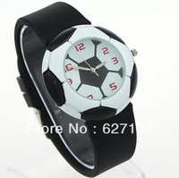 Free Shipping Black Football Design Sports Quartz Wristwatch Rubber Watch Band
