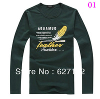 fashion Winter Spring Classic Men's long-sleeved t-shirt Korean version Slim round neck men's long bottoming shirt high-quality