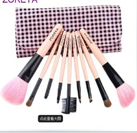 New arrival girl 9 Pieces makeup brush set fashion cosmetic brush set bag free shipping