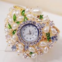 New item Women Nice Pearl Crystal Bangle Watch Ladies Cuff Quartz Watches vintage Style women dress wristwatch good quality PB