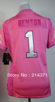 Free shipping - 1  Cam Newton  Women's  Authentic  Pink  Football  Jersey  size: XS-XXL