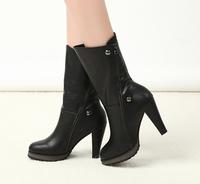 2013 new fashion side zipper high-heeled boots  medium-leg winter boots  PPXX