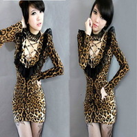 new fashion 2013 winter  Sexy low-cut racerback dress elegant slim hip tight fitting long-sleeve leopard prints one-piece