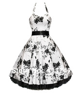 Stock Hearts and Roses London Floral Flower 50s Rockabilly vintage Dress Pinup Party Swing Prom Dress