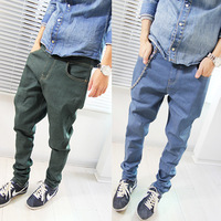 2013 New Fashion Casual Men's Clothing Hip Hop Dance Big crotch Pants male baggies thin denim harem Trousers mens jeans