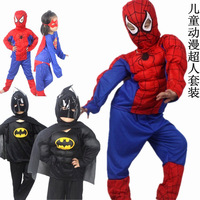 Movie Character party costume fashion Halloween clothing set kids stage performance super man Spider-Man Batman clothes