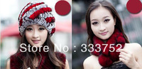Supernova Sales 2013 New Fashion Women Winter Rabbit Fur Hat Scarf Set For Women's Girl Lady Cap Ring Scarves Hats 2 Piece Set 7