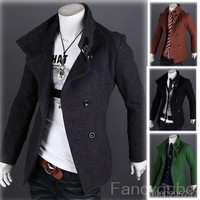 MEN'S SLIM BRITISH STYLE DOUBLE-BREASTED WOOL LONG SECTIONS COAT JACKET MF-45230