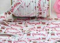 10yds Free Shipping New Arrival Princess & Crown Print FOE Fold Over Elastic 5/8'' Foldover elastic for Headband NEW Wholesale