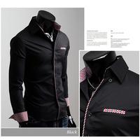 Hot! Free shipping Men's long-sleeved shirt casual men's long-sleeved shirt pocket plaid trim 6 color size M-XXL