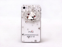 1PC Free Shipping Bulk High Quality Luxury Crown Bling Diamond Crystal Case Cover for iPhone 4 4G 4S Accessory