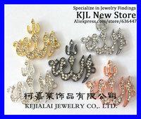 wholesale 50pcs/lot Pave Rhinestone Allah Charm bracelet Connector 30x30mm, in 5 colors