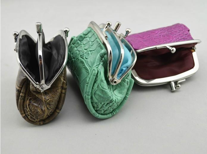 Двойной слой женщины в крючки монета портмоне крокодиловая кожа узор 5 цветов кожа монета чехол губная помада мешок C3114