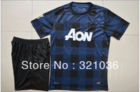 High Quality 2013  2014  Season     Rooney   Blue Black      Soccer Jersey With SHORTS  Soccer Uniforms Kits