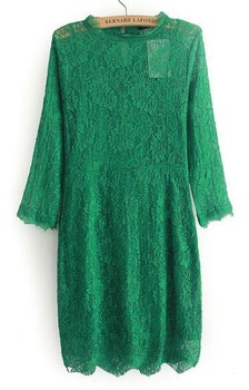 Free Shipping! 2013 Autumn Dresses New Fashion Women Hot Sale Green Round Neck Scallop Overlay Lace Dress
