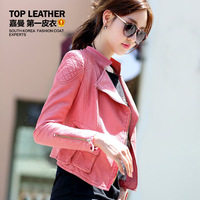 free shipping 2013 autumn and winter women's leather clothing pew design short female leather jacket outerwear 5821