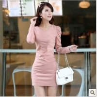 Free shipping hot promotion new autumn outfit edition cultivate one's morality v-neck hubble-bubble sleeve long-sleeved dress