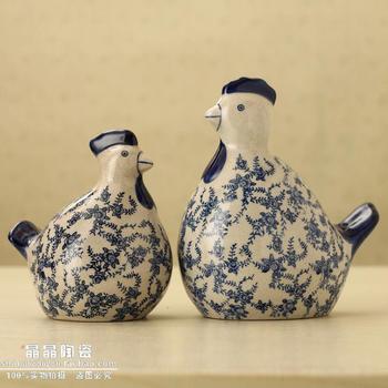 Home accessories rustic decoration crack glaze googoo chicken ceramic crafts