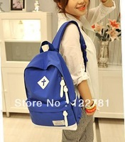 Free shipping 2013 color block cross neon color backpack female students backpack Nylon backpack