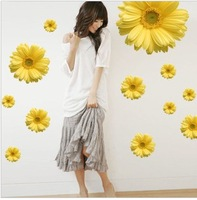 Tv background wall wallpaper fashion home yellow chrysanthemum wall stickers sunflower
