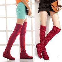 2013 women's autumn and winter shoes  flat elevator high-leg knee-length boots