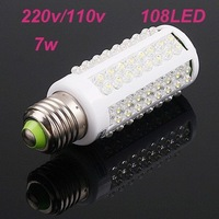 Free shipping Ultra bright LED bulb 7W E27  LED lamp with 108 led 360 degree Spot Light U Onine Store No.600458