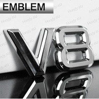 V8 Logo 3D Car Decals Adhesive Badge Sticker Silver