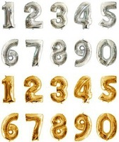 10PCS 16inch Silver/Gold 0-9 Digit Number Foil Decal Balloons Figure Ballons Party Wedding Occasion Decor Free Ship