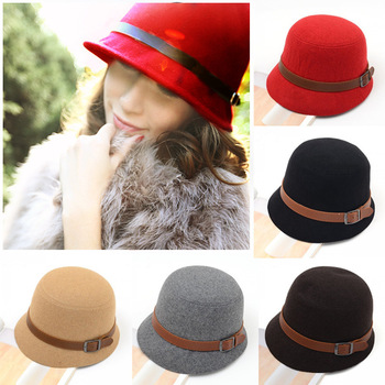 Fashion Vintage Autumn Winter Adult Women Fedora Hat Dome Hat England Vintage Bowler Caps Multicolor Ladies Headwear Bucket Hat