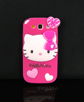 Original Brand Cute Kawaii Cartoon Hello Kitty Silicone Mobile Phone Cases Cover For Samsung Galaxy S3 III I9300 S4 I9500 Skins