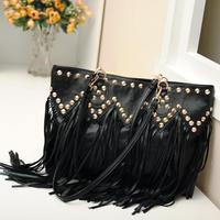 Hot Sale Wave Rivet Fringed Bag Women Rivet Chain Bag Royal Queen Rivet Tassel Bag women's shoulder handbags