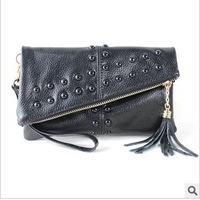 New Women's Tassel Rivet Day Clutch Cowhide Handbag Fashion Genuine Leather Shoulder Bag