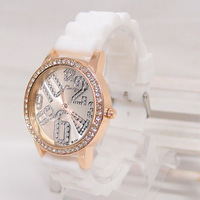 Women Wholesale fashion crystal Silicone quartz watch,dress wrist watches Loadies women LW26