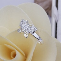 New Arrival! R272 Christmas Gift Fashion Jewelry 925 Silver Exquisite Crystal Cute Butterfly Ring For Women+Free Shipping
