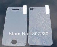 New 3D Diamond Screen Protector Front + Back Cover Film for iPhone 4 4G 4S