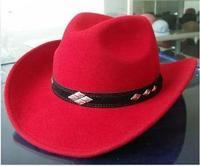1pcs free shipping 100% wool felt Wool fedoras cowboy hat riding hat male women's red  western cowboy felt hat