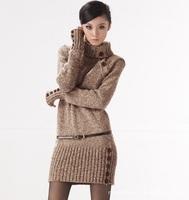 2014 Winter Women's Long Stretch Design Turtleneck Sweater Dress Warm Thicken Pullover Crochet Jumper Knitted Outwear Coat