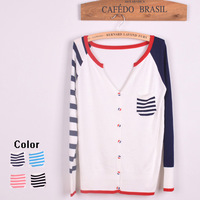 Stripe preppy style cardigan 2013 autumn women's pocket color block long-sleeve sweater outerwear 202 free shipping wholesales