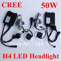 2X1800LM H4 50W Car Cree LED HeadLight Car/Truck auto Head lamp H/L Beam auto bulb Free Shipping