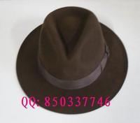 1 pcs free shipping 100% wool Rabbit hair fedoras jazz hat gentleman hat flat brim fedoras male women's  Unisex Fedora hat