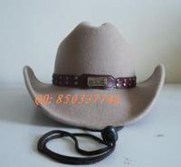 1pcs free shipping 100% wool felt Wool fedoras cowboy hat male women's  western cowboy felt hat