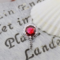New Arrival! R292 High Quality Fashion Jewelry 925 Silver Red Austrian Crystal Round Ring For Women+Free Shipping