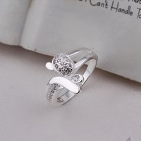 New Arrival! R284 Christmas Gift Fashion Jewelry 925 Silver Clear Austrian Crystal Round Ring For Women+Free Shipping