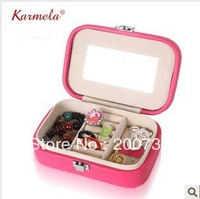 Free shipping rectangular  shape mini PU jewelry box, portable  jewelry storage box, birthday ,wedding gift  dressing box