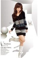 In 2013, free shipping, new autumn planting new han edition dress in cotton wool coat, long sleeve v-neck t dress