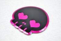 2 pcs Q version  Skull  Bones Skeleton Aluminium Emblem FIT MK6 GOLF GTI CC Jetta SCIROCCO R car styling car sticker