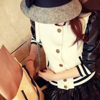 Puff sleeve leather patchwork baseball shirt jacket sweet all-match outerwear