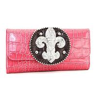 Brand Women Designer Large Rhinestone Fleur De Lis Crocodile Pattern Genuine Leather High Quality Checkbook Wallet with Studs