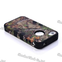 free shippng Brand New hard case for iphone 5 5G 3-in-1 tpu+ pc CAMO pattern brown tree design shell + screen protector
