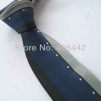 Yibei Coachella Ties Navy With Black/Silver Border Stripe Jacquard Necktie Gravata Formal Neck tie For Men dress Party Wedding